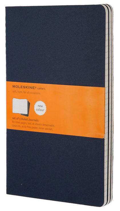 Записная книжка в линейку Moleskine Cahier Journal Large 3 шт 130х210 мм 80 стр обложка синяя.