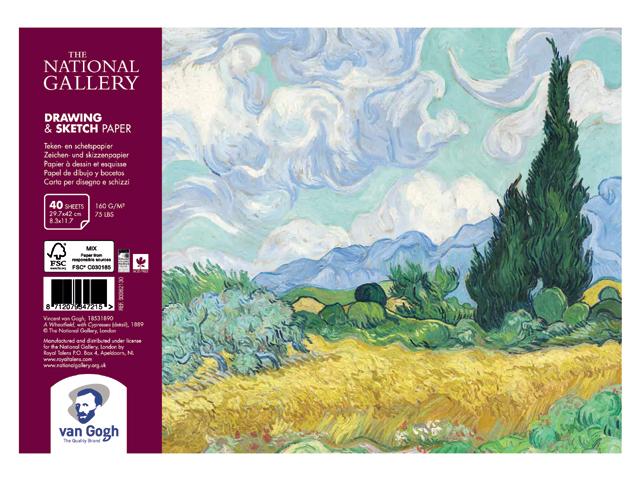 Купить Альбом на спирали для зарисовок Talens Van Gogh National Gallery А4 40 л 160 г, Royal Talens