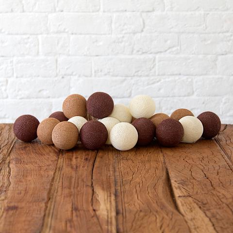 Купить Гирлянда из хлопковых шариков Lares & Penates кофейная 20, от батареек, Lares & Penates