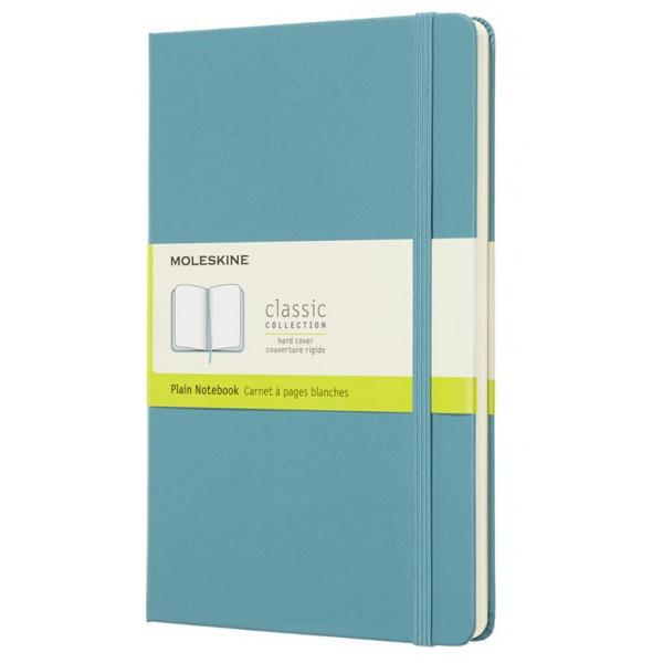 Записная книжка нелинованный Moleskine Classic Large 130х210 мм 240 стр обложка голубая.