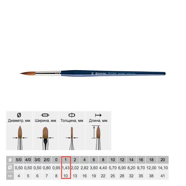 Купить Кисть колонок №1 круглая Escoda Optimo 1210 короткая ручка синяя, Испания