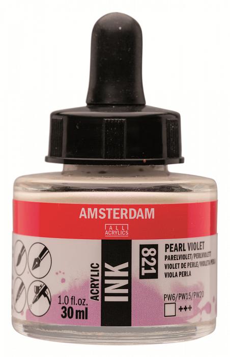 """Чернила акриловые Talens """"Amsterdam"""" 30 мл №821 Фиолетовый жемчужный"""