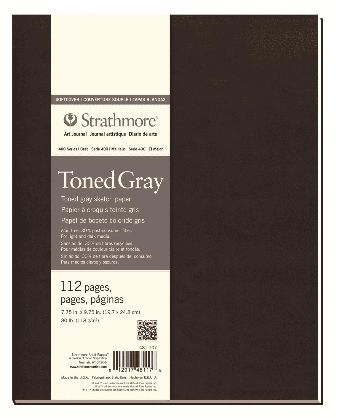 Купить Блокнот для зарисовок Strathmore 400 Series 20х24, 6 см 56 л 118 г, серый, США
