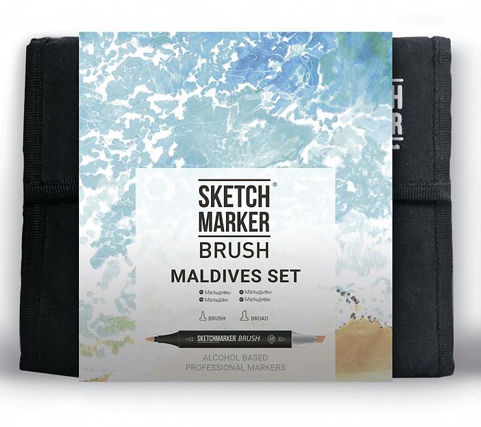 Купить Набор маркеров Sketchmarker Brush 36 Maldives Set- Мальдивы (36 маркеров+сумка органайзер), Япония