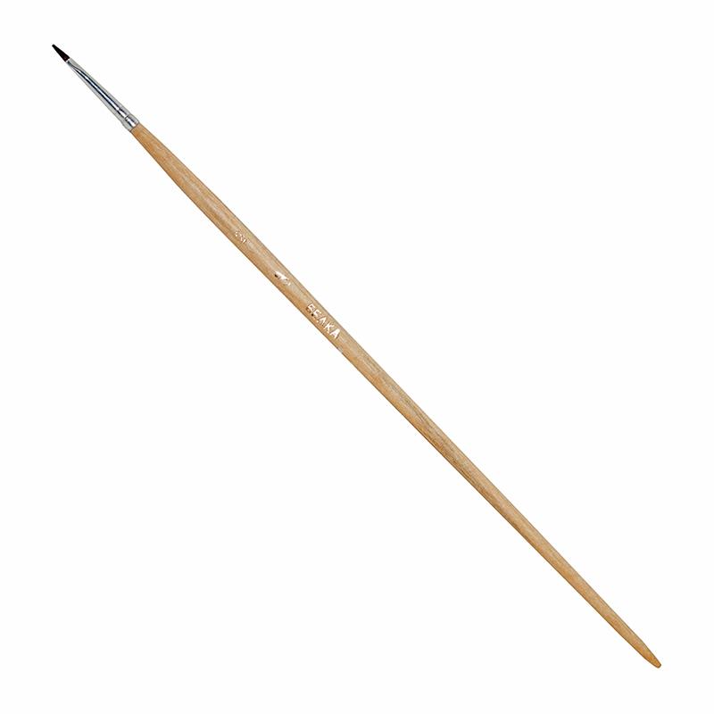 Купить Кисть белка №2 плоская ЦТИ длинная ручка, Россия
