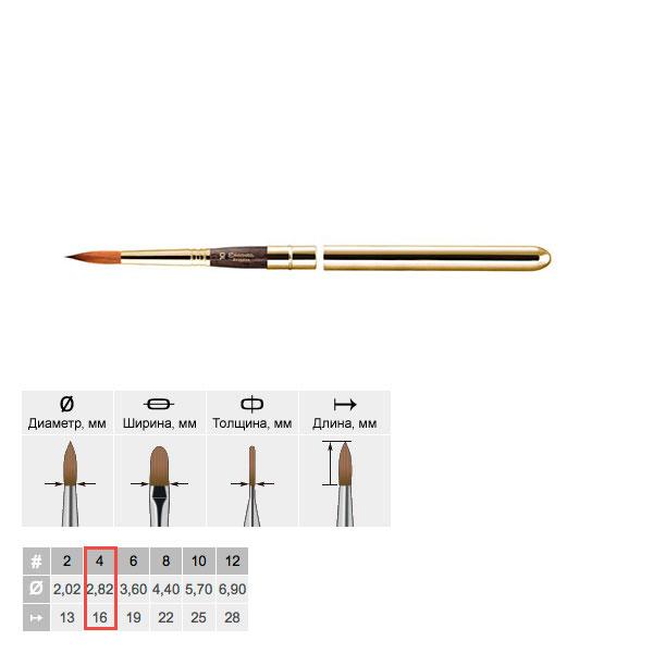 Купить Кисть колонок №4 круглая Escoda Reserva 1214 Tajmyr ручка съёмная металлическая, Испания