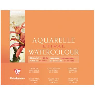 Купить Альбом-склейка для акварели Clairefontaine Etival Fin 24х30 см 25 л 300 г 100% целлюлоза, Франция