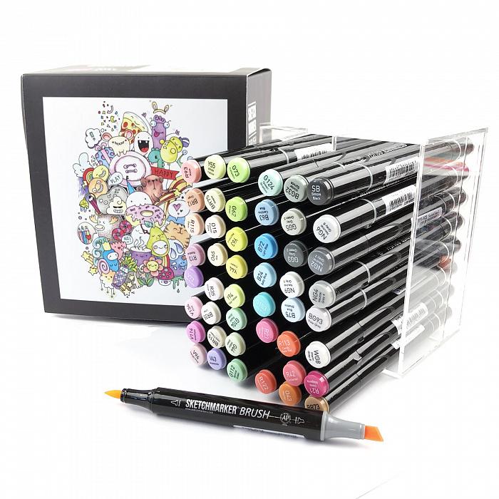 Купить Набор маркеров Sketchmarker Brush 48 Baby style - Нежные тона (48 маркеров в пластиковом кейсе), Япония