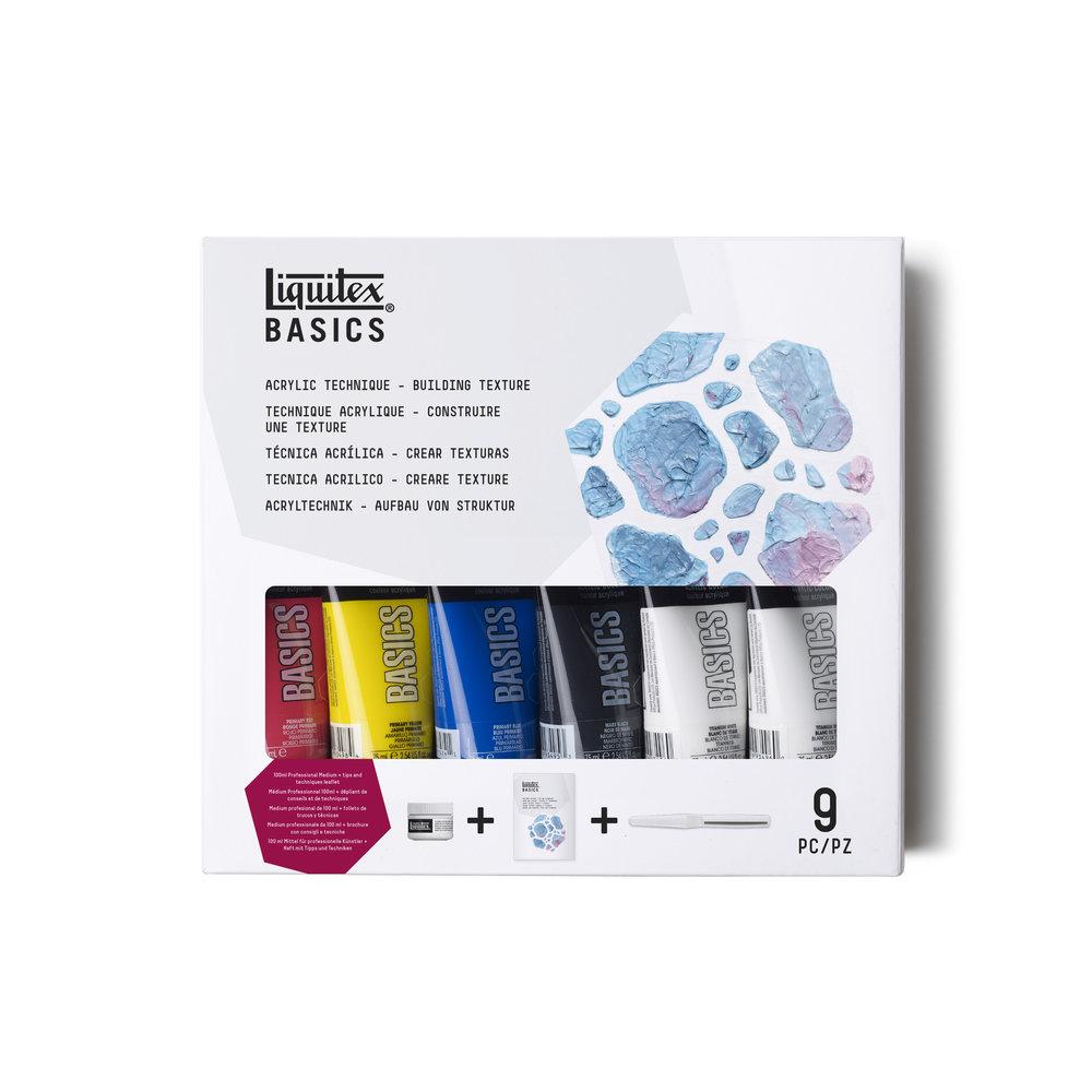 Купить Набор акрила Liquitex Basics build text 6 цв*75 мл+ моделирующая паста+нож, США