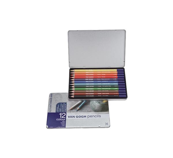 Купить Набор цветных карандашей акварельных Talens Van Gogh 12 цв стартовый в метал кор, Royal Talens