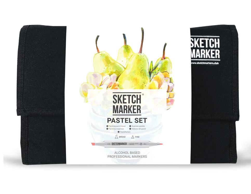 Купить Набор маркеров Sketchmarker Pastel set 24 Пастельные тона (24 маркера + сумка органайзер), Япония