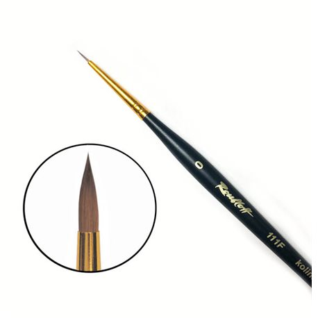 Купить Кисть колонок №0 круглая Roubloff 111F фигурная коротка ручка, матовая, Россия