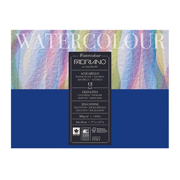 Блокнот-склейка для акварели Fabriano Watercolour Studio 36x48 см 12 л 300 г.