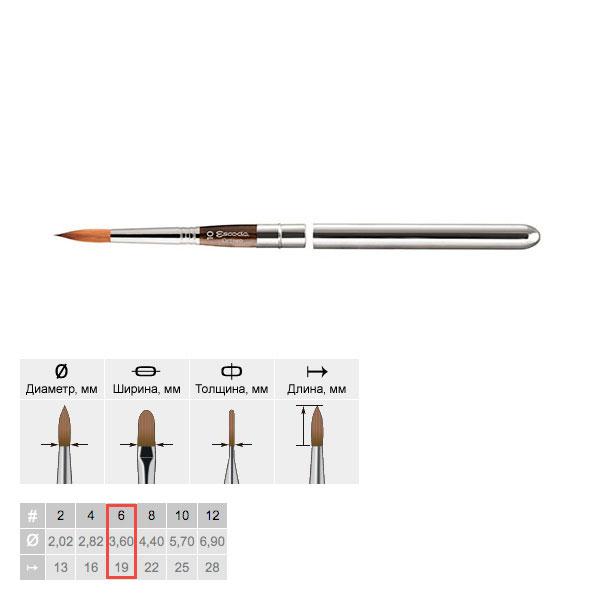 Кисть колонок №6 круглая Escoda Optimo 1215 серебренная ручка, съемный колпачок, Испания  - купить со скидкой