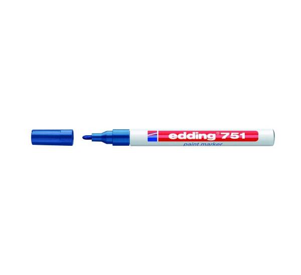 Купить Маркер декоративный лаковый Edding 751 1-2 мм с круглым наконечником, синий, Германия