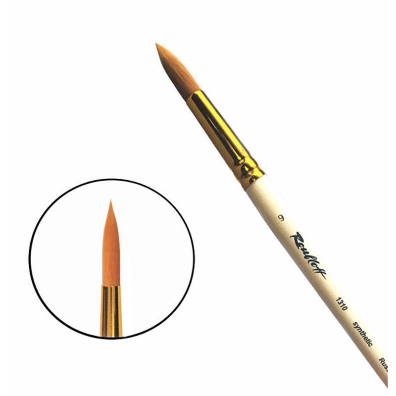 Купить Кисть синтетика №9 круглая Roubloff 1310 короткая ручка п/лак, Россия