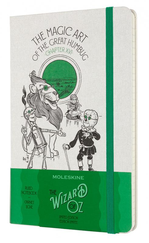Записная книжка в линейку Moleskine LE WIZARD OF OZ Large 13x21 см 240 стр. обложка белый/зелены.