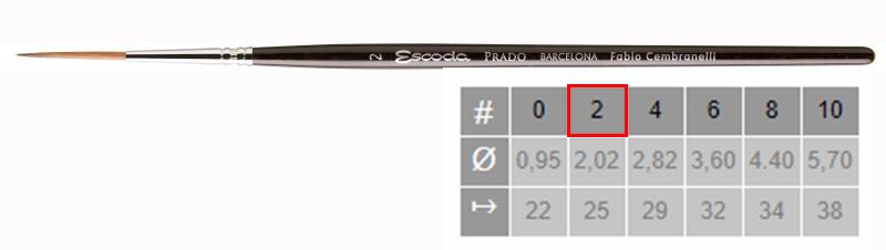 Купить Кисть синтетика №2 круглая удлиненная Escoda Prado 1469 короткая ручка, Испания