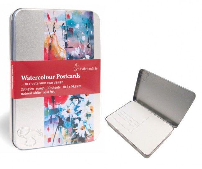 Набор открыток из акварельной бумаги Hahnemuhle, 230 г, 10,5х14,8 см, 30 л, жестяная коробка фото