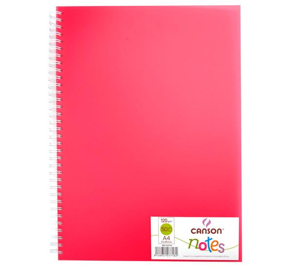 Купить Блокнот для графики на спирали Canson Notes А4 50 л 120 г, обложка пластик. розовая, Франция