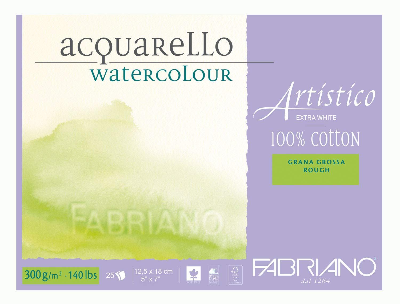 Купить Альбом-склейка для акварели Fabriano Artistico Торшон 12, 5х18 см 25 л 300 г, экстара белая, Италия