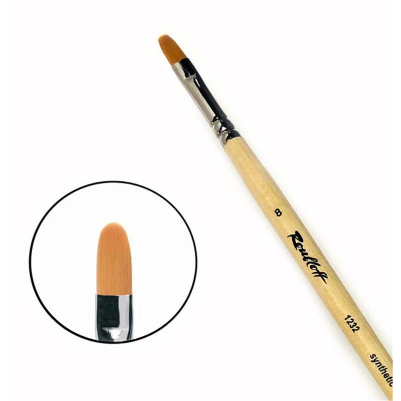 Купить Кисть синтетика №8 овальная Roubloff 1232 длинная ручка п/лак, Россия