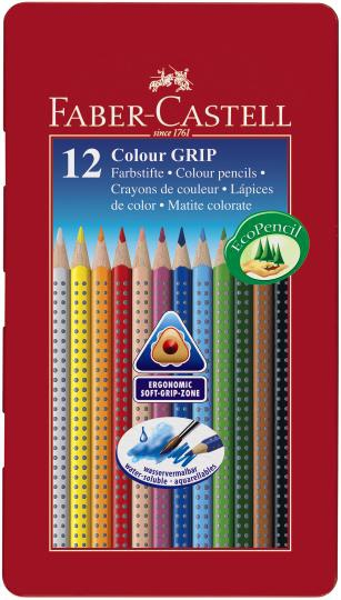 """Набор карандашей акварельных Faber-castell """"Colour Grip"""" 12 цв в металле"""