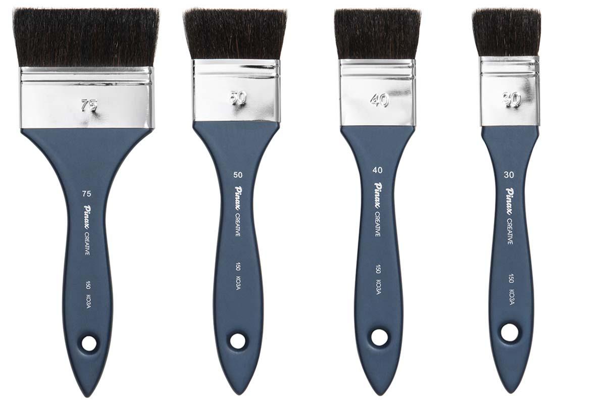 Купить Кисть коза черная флейц Pinax Creative 150 короткая ручка, Китай