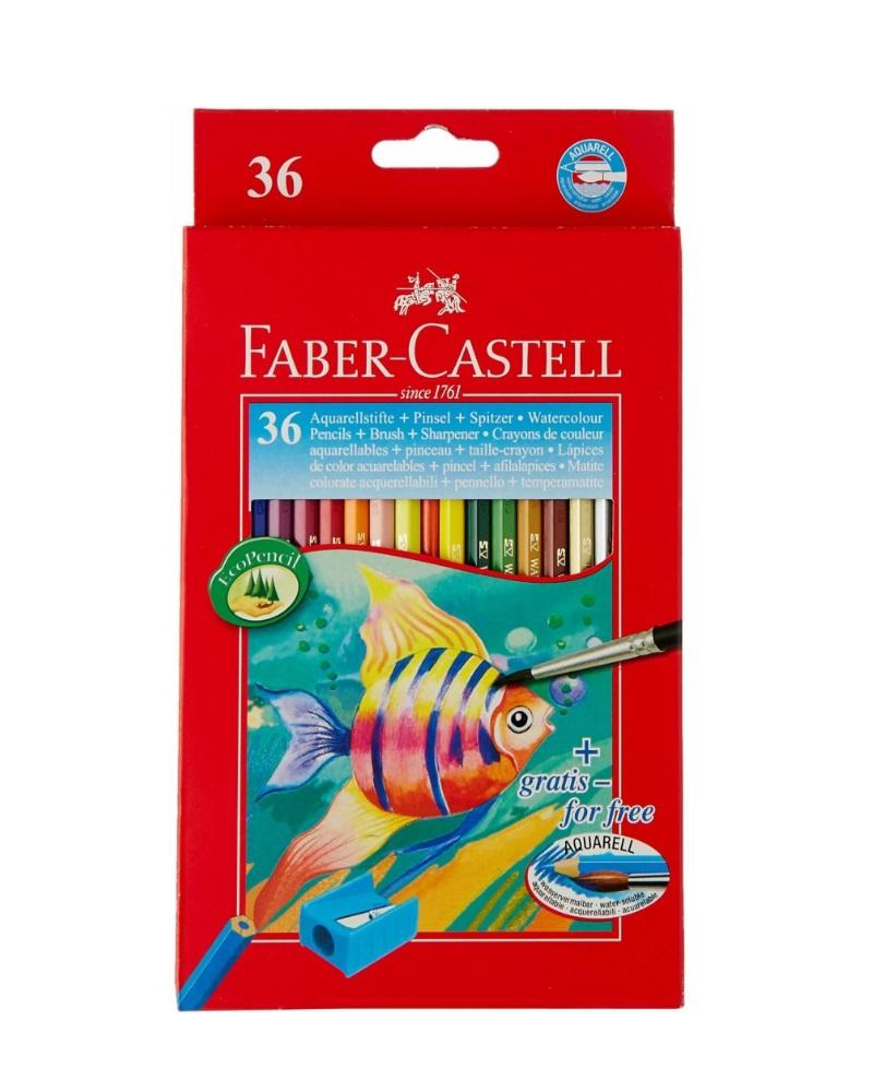 Купить Набор карандашей акварельных Faber-castell Рыбки 36 цв + кисточка, Faber–Сastell, Германия
