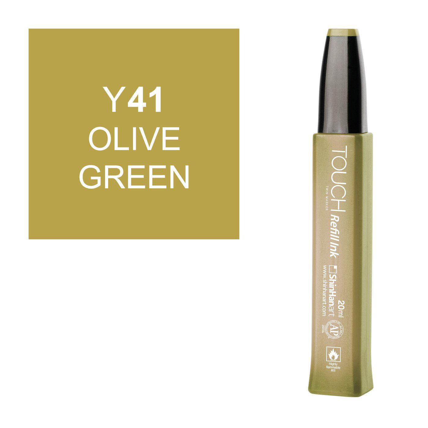 Купить Заправка для маркеров Touch Refill Ink 20 мл Y41 Оливковый, ShinHan Art (Touch), Южная Корея