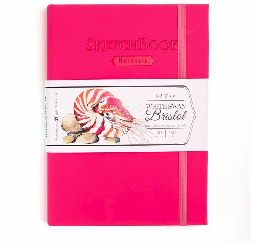 Купить Скетчбук для графики и маркеров Малевичъ White Swan Bristol малиновый А5 50 л 180 г, Россия