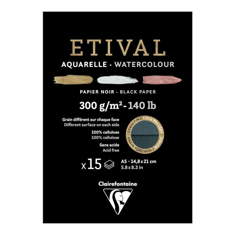 Купить Альбом-склейка для акварели Clairefontaine Etival Torchon 14, 5х21 см 15 л 300 г, черная бумага, Франция