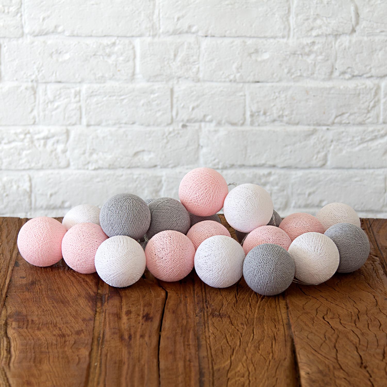 Купить Гирлянда из хлопковых шариков Lares & Penates розово-серая 20, от батареек, Lares & Penates
