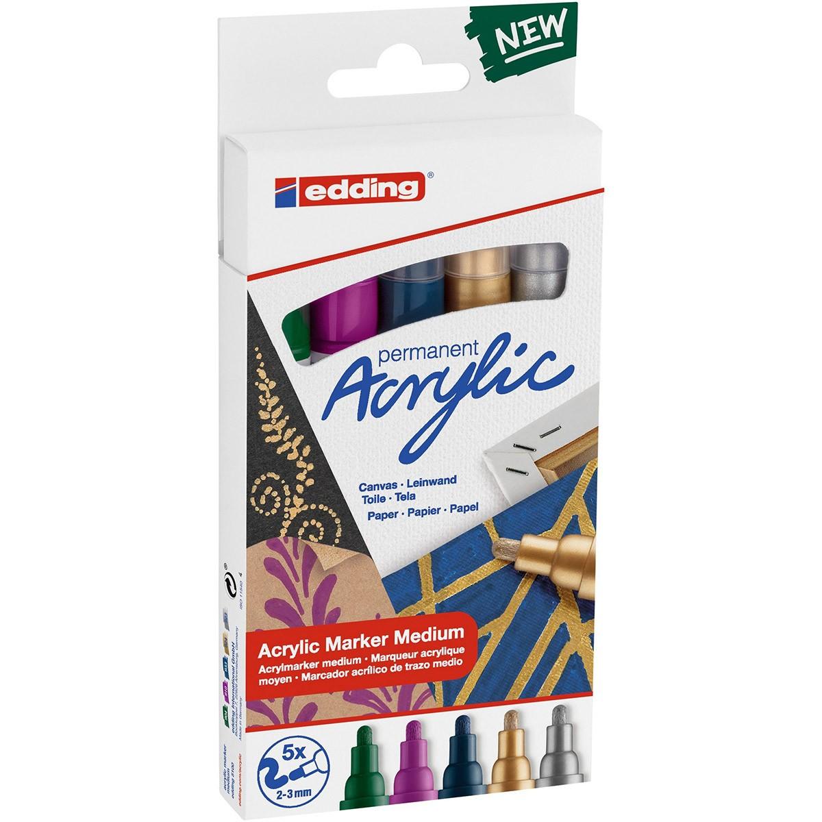 Купить Набор маркеров акриловых Edding 5 шт, 2-3 мм металлик цвет: 904, 910, 933, 924, 923, Германия
