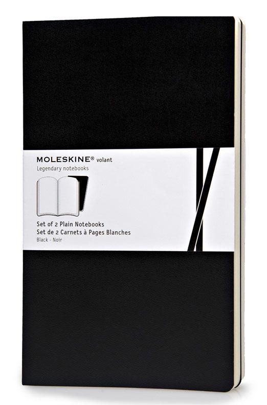 Записная книжка в линейку Moleskine Volant Large 2 шт 130х210 мм 96 стр обложка черная.