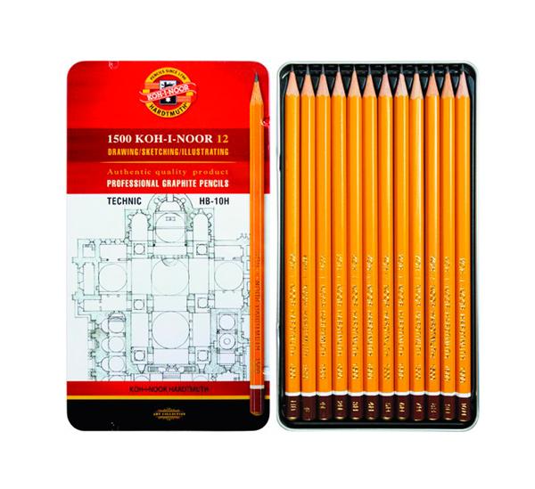 Купить Набор карандашей чернографитных Koh-I-Noor Technic 12 шт (НВ-10Н) в металл коробке, KOH–I–NOOR, Чехия
