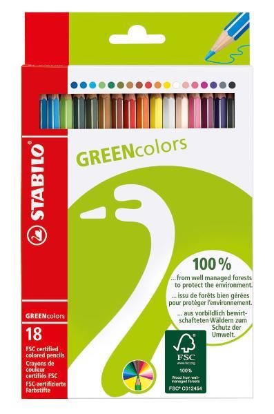 Купить Набор карандашей цветных Stabilo Green Colors 18 цв, Россия