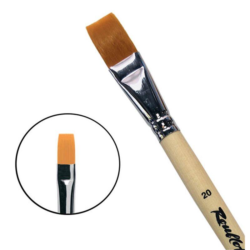 Купить Кисть синтетика №20 плоская Roubloff 1222 длинная ручка п/лак, Россия