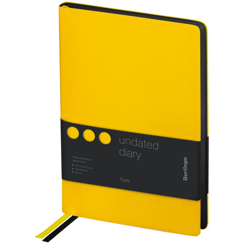 Купить Ежедневник недатированный Berlingo Fuze A5 136 л, кожзам, цветной срез, желтый, Россия