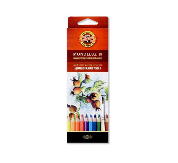 Купить Набор цветных карандашей акварельных Koh-I-Noor Mondeluz 18 цв в картон кор, KOH–I–NOOR, Чехия