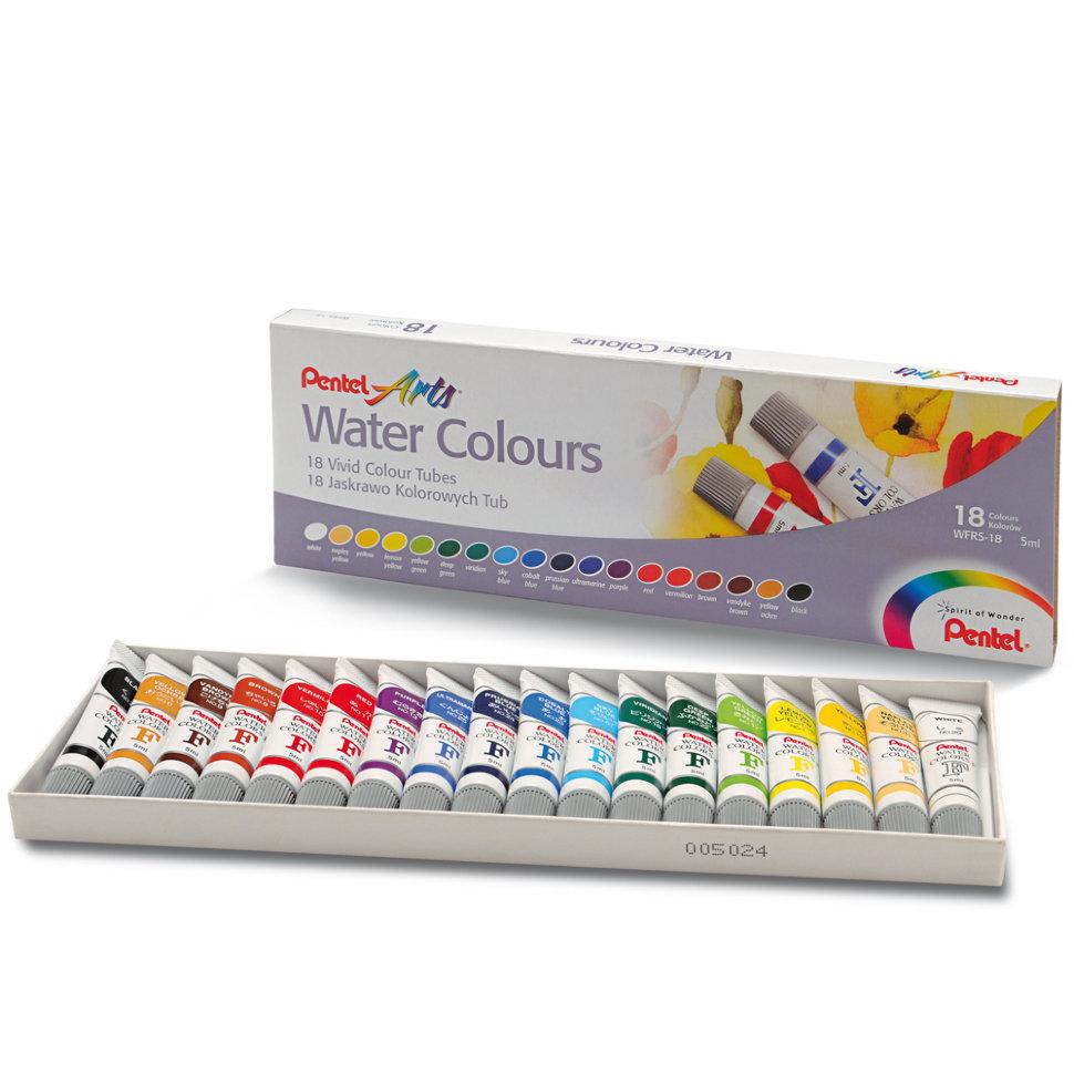 Набор акварельных красок Pentel Water Colours 18 цветов.
