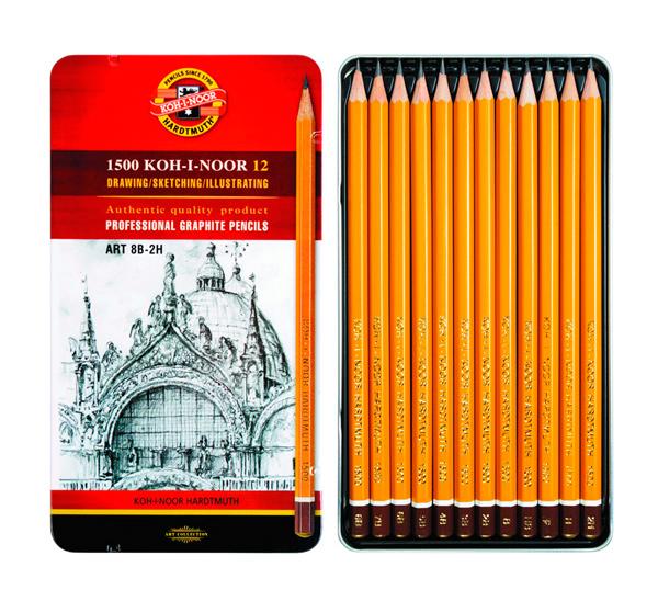 Купить Набор карандашей чернографитных Koh-I-Noor Art 12 шт (8В-2Н) в металл коробке, KOH–I–NOOR, Чехия