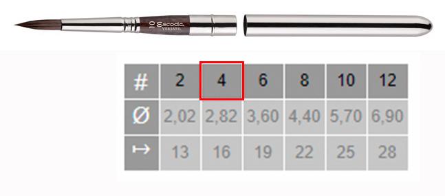 Купить Кисть синтетика №4 круглая Escoda Versatil 1548 ручка съемная металлическая, Испания
