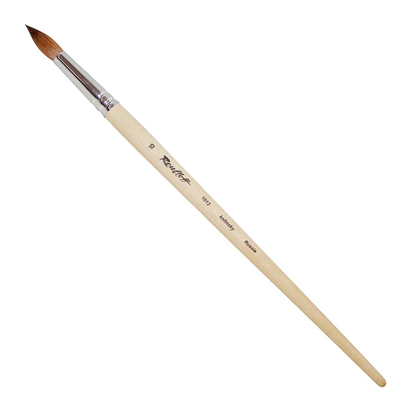 Купить Кисть колонок №10 круглая Roubloff 1012 длинная ручка п/лак, Россия