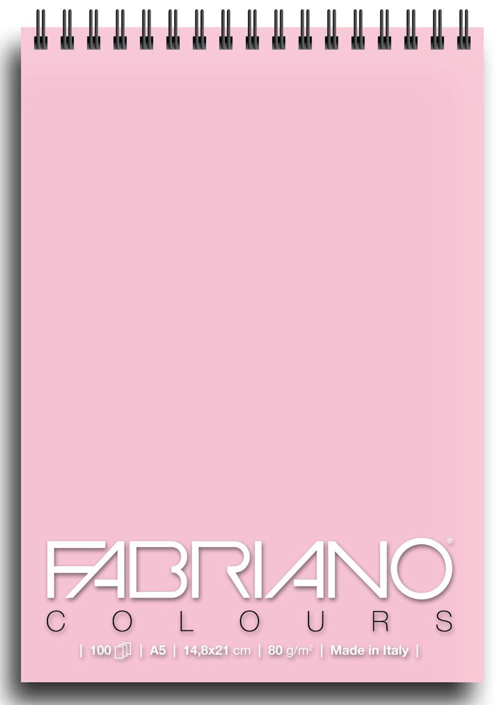 Альбом для графики на спирали Fabriano Writing Colors 148х21 см 100 л 80 г розовый.
