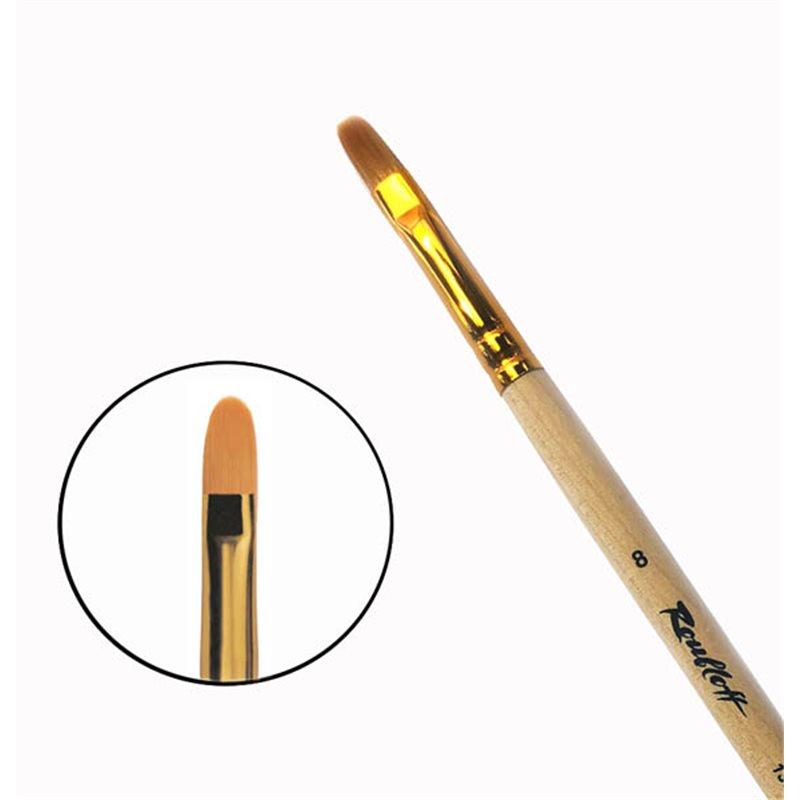 Купить Кисть синтетика №8 овальная Roubloff 1332 длинная ручка п/лак, Россия