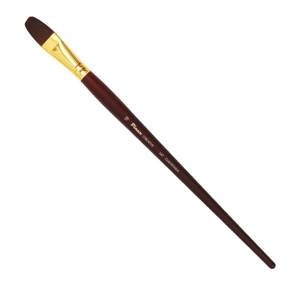 Купить Кисть синтетика №18 овальная Pinax Creative 687 жесткая, длинная ручка, Китай