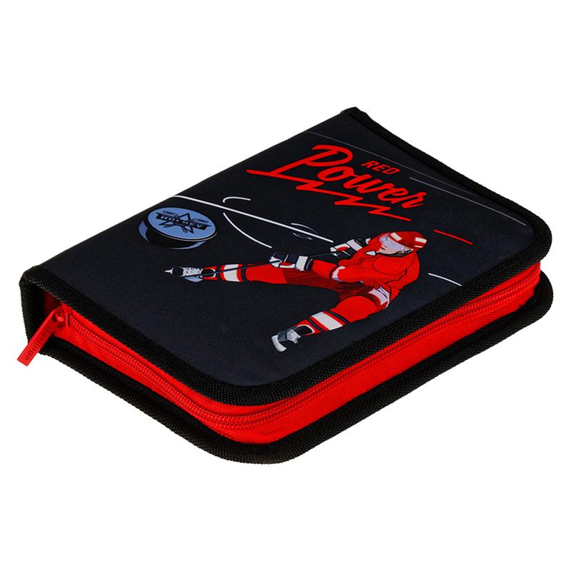 Купить Пенал 1 отделение Berlingo Hockey 200*140*40 мм, две откидные секции, полиэстер, Россия