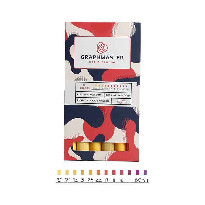 Набор спиртовых маркеров Graphmaster C 12 цветов красно-желтые тона, Германия  - купить со скидкой
