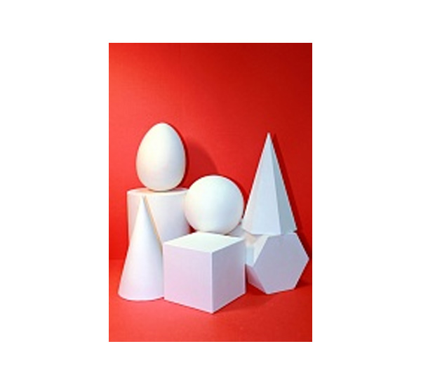Купить Гипс Геометрические тела (7предметов) призма, конус, яйцо, шар, куб, пирамида, цилиндр., Черная речка, Россия